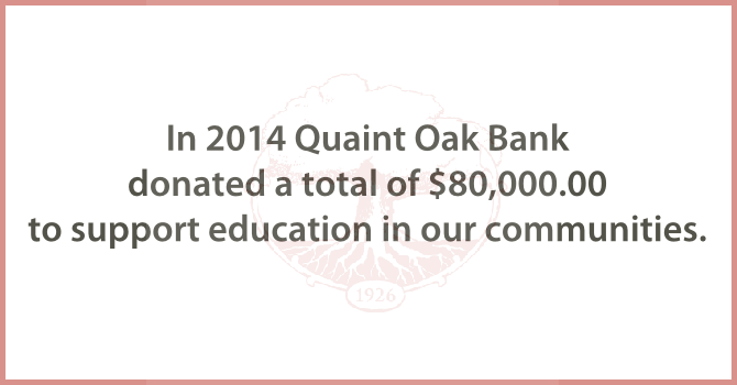 Image for Quaint Oak Bank $80,000 donation