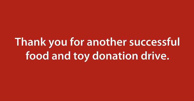 Image of Thank You letter - Food & Toy Drive