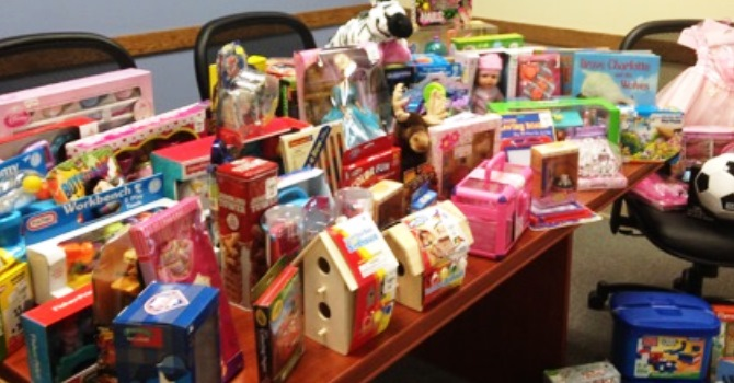 Image of Quaint Oak Bank Toy Drive Items