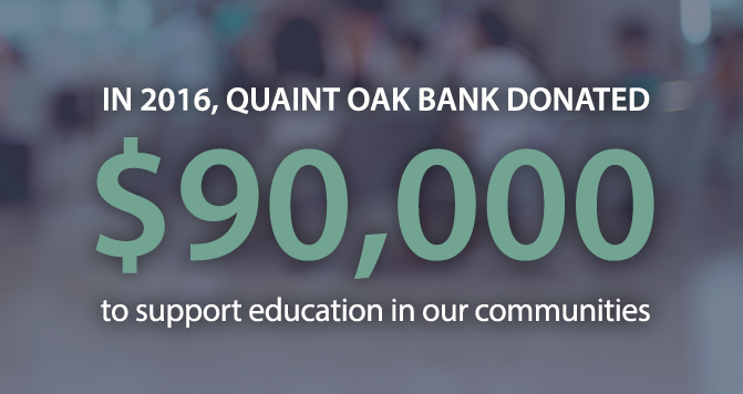 Image of Quaint Oak Bank $90,000 donation