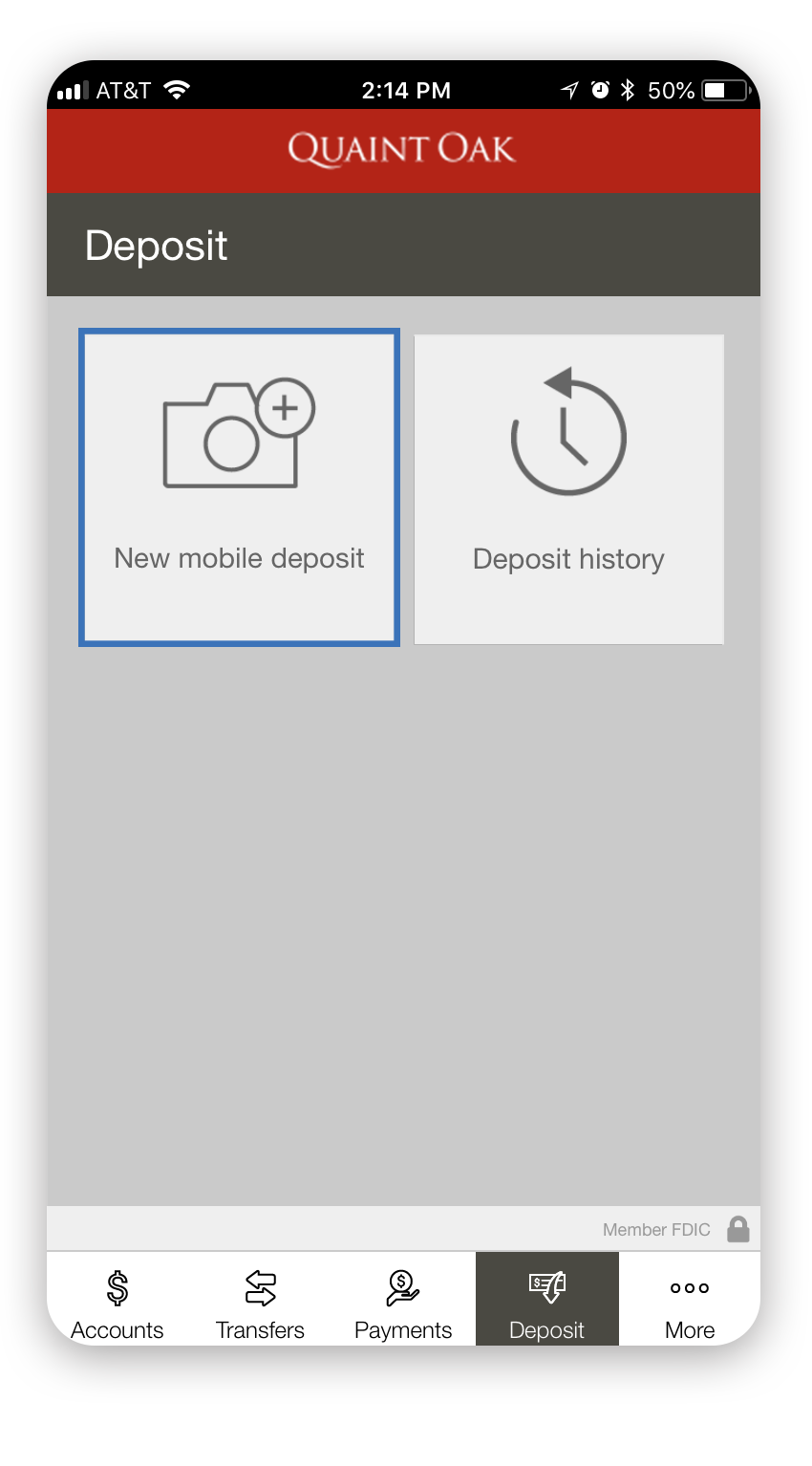 Quaint Oak Bank Mobile App Deposit Options
