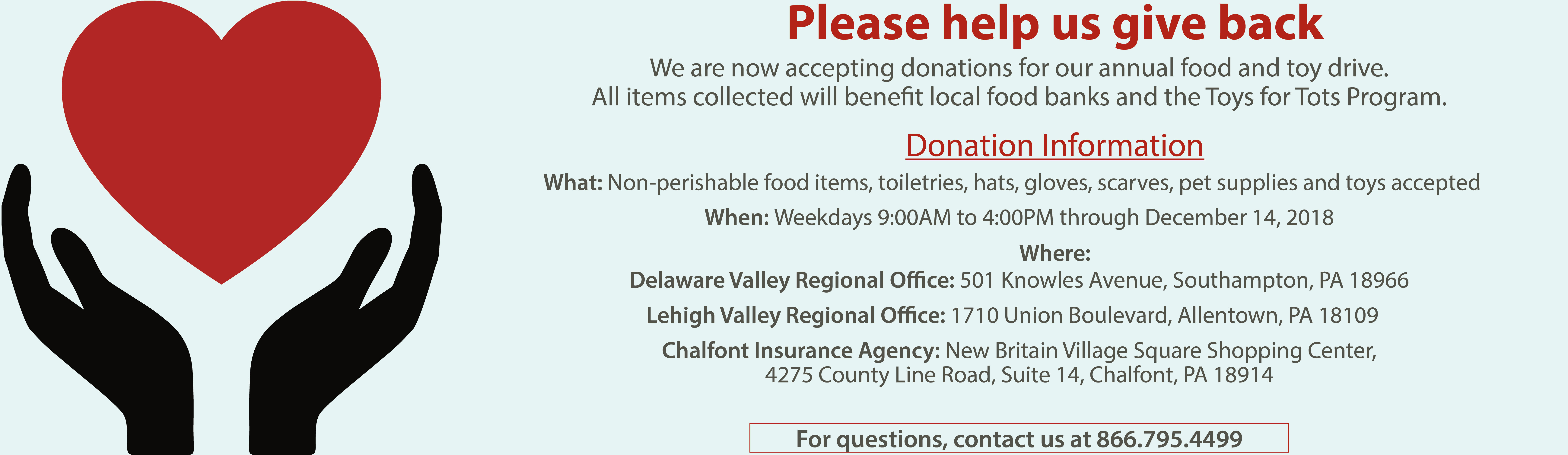 Image for Quaint Oak Bank Food and Toy Drive