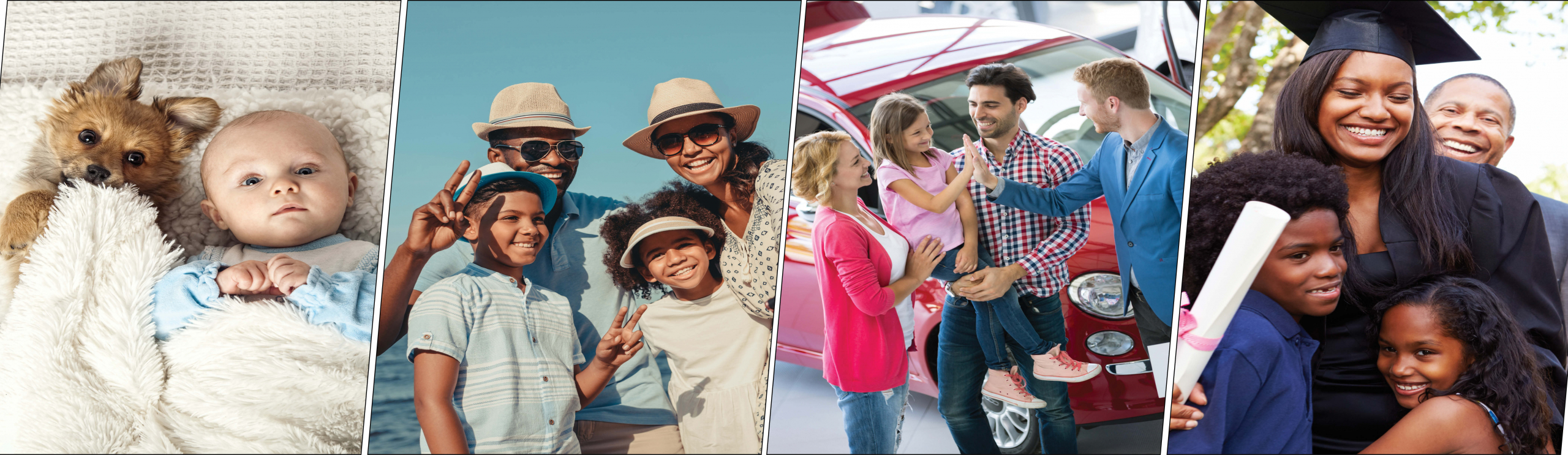 JPG - Happy Family pictures, baby with dog, family on beach, family buying car, graduation picture