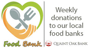 Heart with spoon and fork logo, Food Bank, Weekly donations to our local food banks