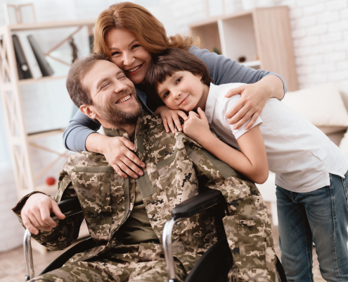 Image - Military family with father in uniform and wheelchair