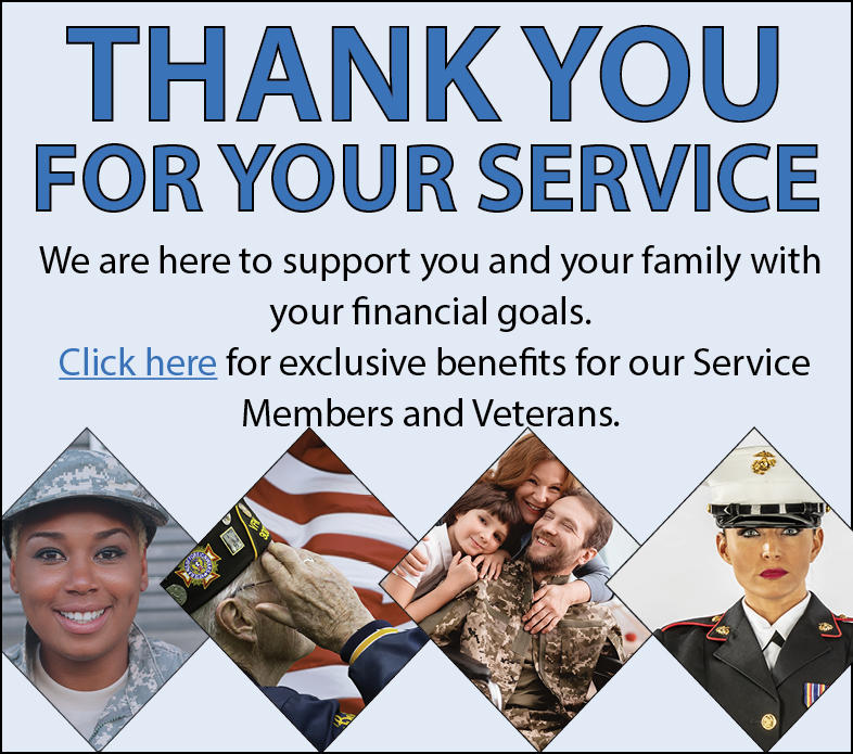 Thank you for your service, Click for exclusive Military Benefits