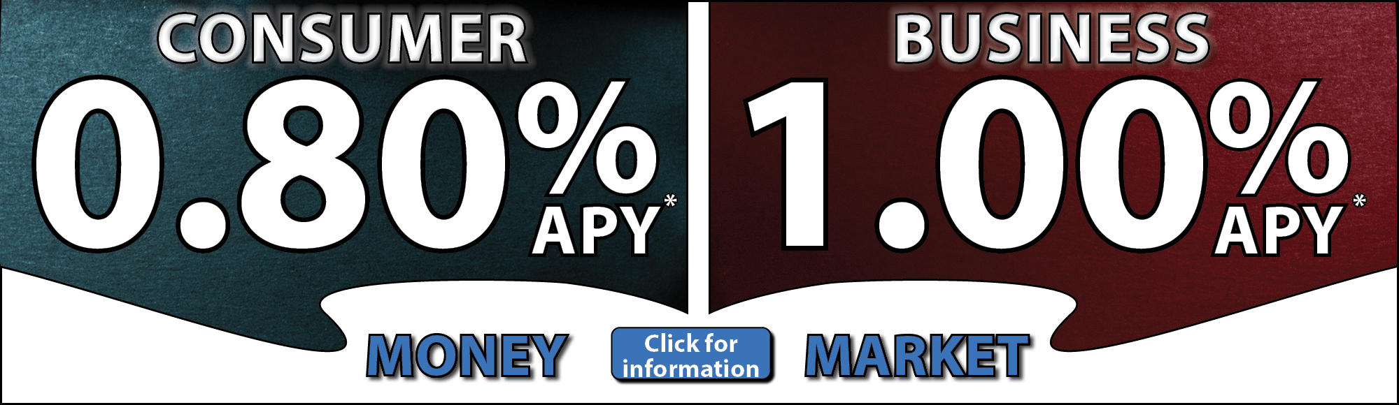 Consumer Money Market - 0.80% APY*; Business Money Market - 1.00% APY* Click for Information